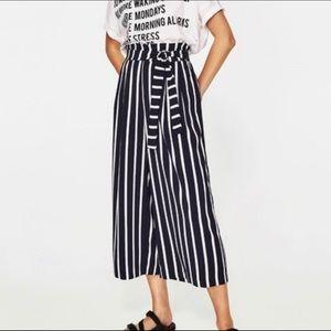 Zara Trafuluc pull on stripe flowy culottes size M